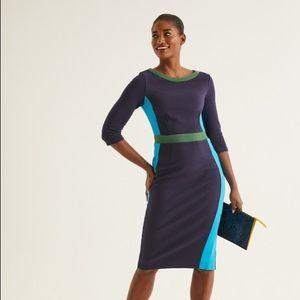 Boden Leah Ottoman Sheath Dress Color Block Blue